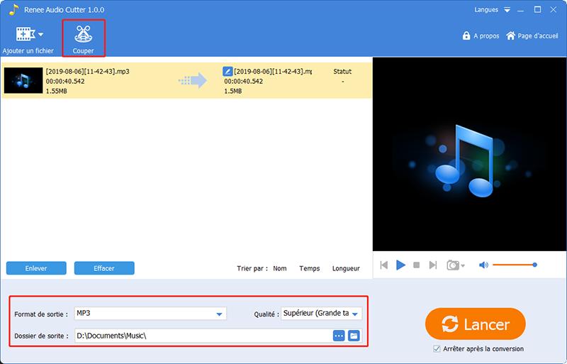 ajouter le fichier audio à couper