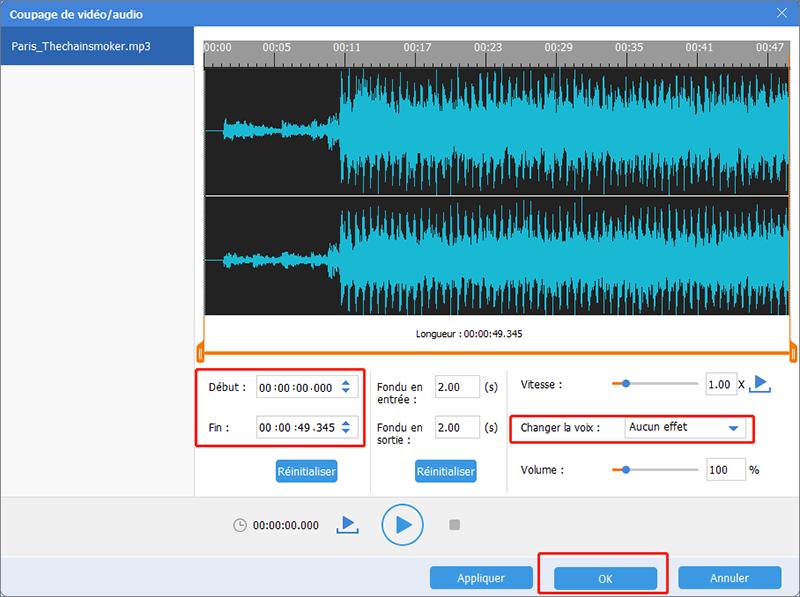 couper et changer le voix dans le fichier de musique