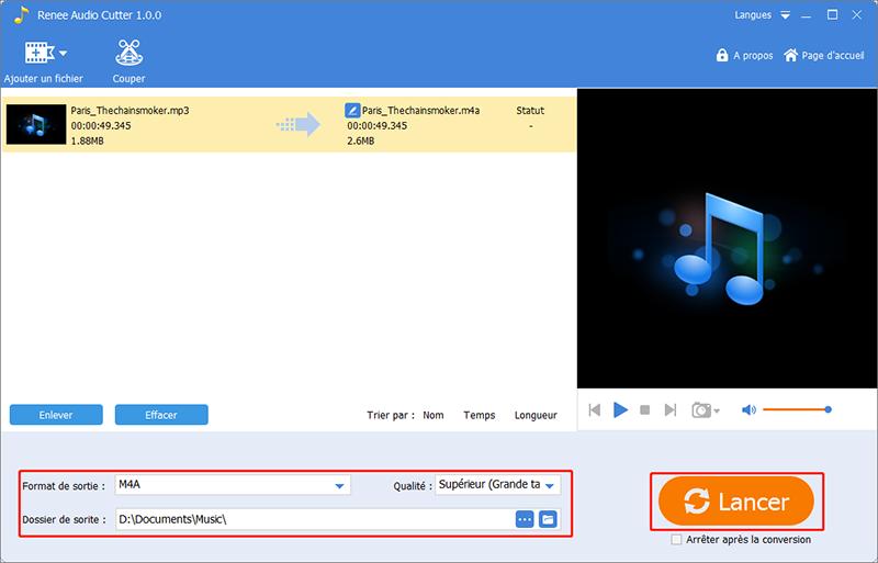 convertir le fichier de musique au format m4a