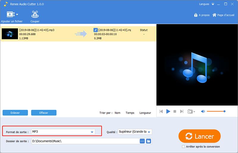 choisir MP3 comme le format de sortie