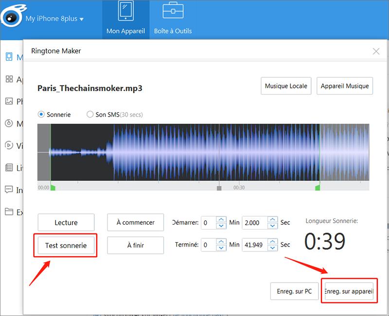 créer une sonnerie en coupant le clip audio