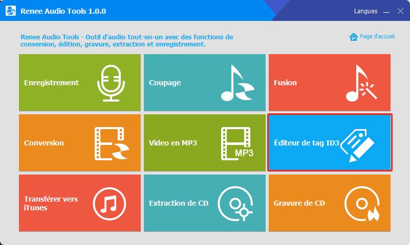 éditeur de tag ID3 sur renee audio tools