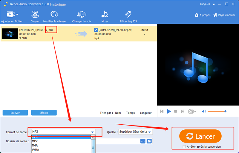 convertir flac en mp3 avec renee audio tools