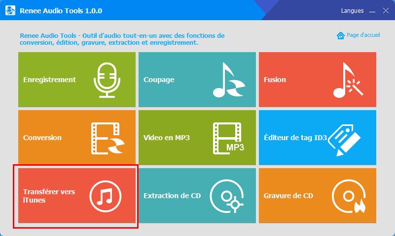 fonction de transférer vers iTunes de Renee Audio Tools