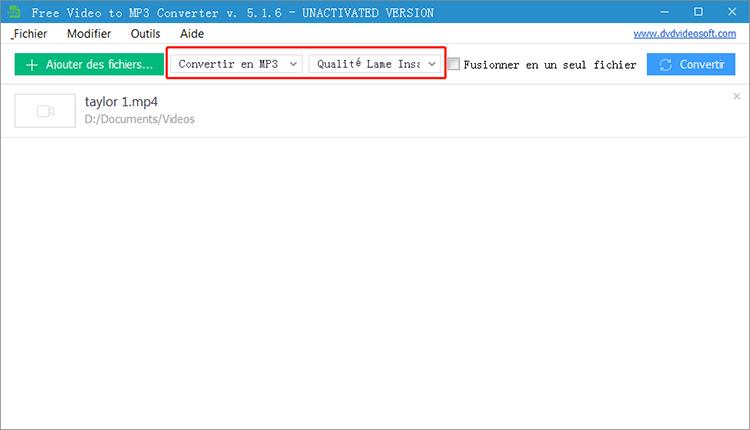 la configuration du fichier de sortie