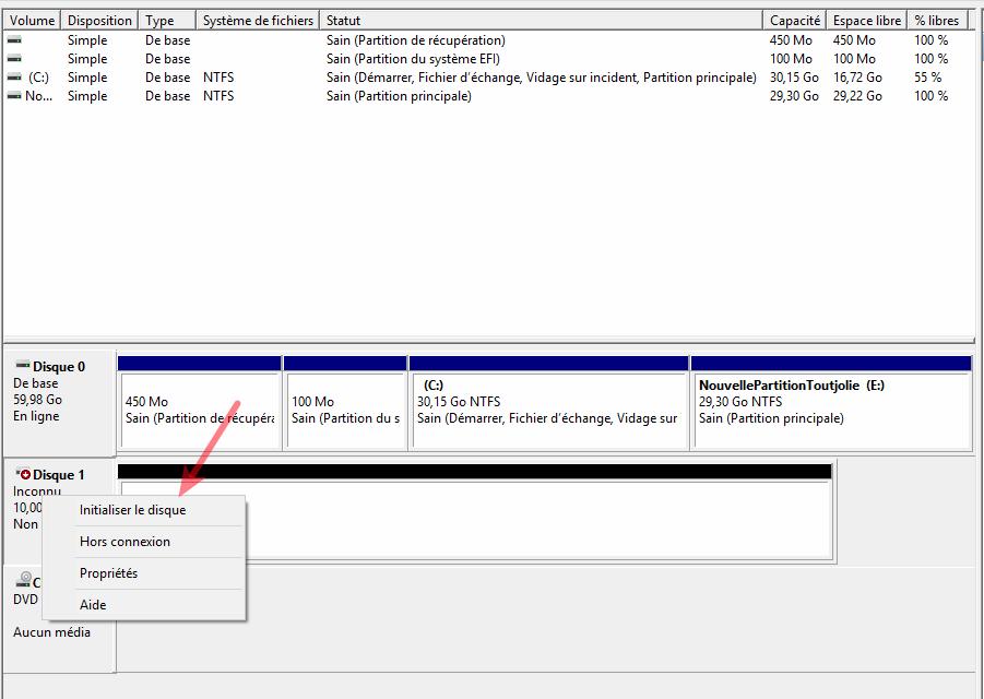 initialiser le disque dur externe