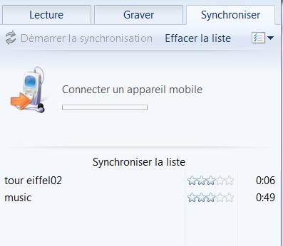 synchroniser les fichiers audio sur téléphone