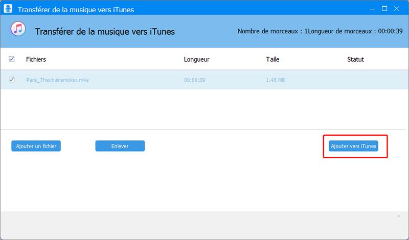 transférer le fichier m4a vers iTunes pour créer une sonnerie iPhone