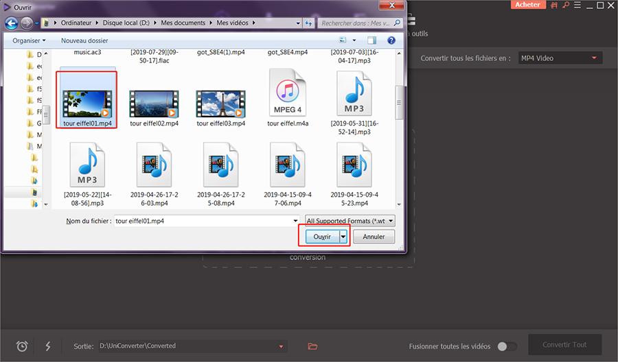 ouvrir le fichier vidéo à convertir