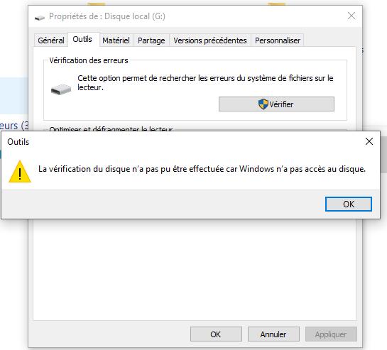 La vérification du disque n'a pas pu être effectuée car Windows n'a pas accès au disque