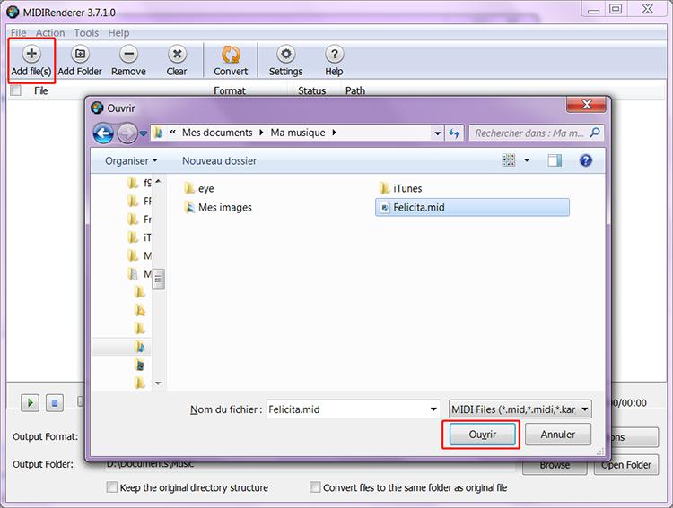 Cliquez sur Add file pour ajouter le fichier MIDI