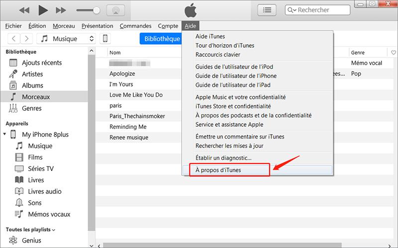 Vérifier si l'iTunes sur le PC est de la dernière version