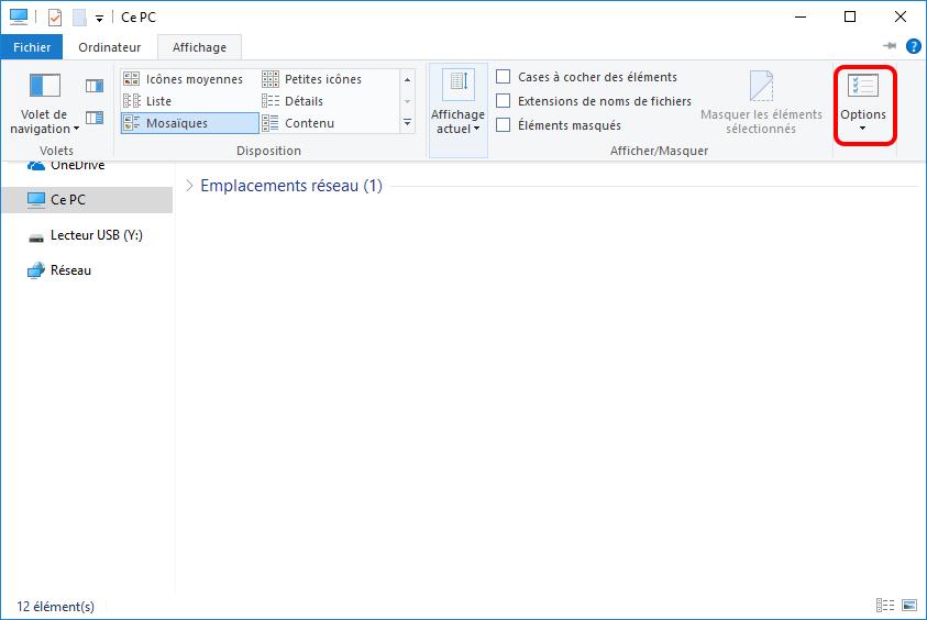 afficher le dossier caché avec la fonction de Windows 10