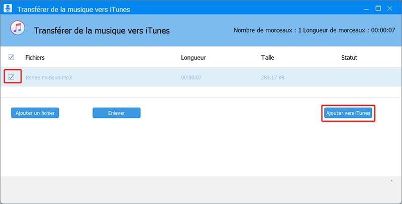 ajouter le fichier de musique vers iTunes