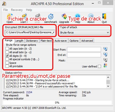 ARCHPR pour cracker le fichier compressé