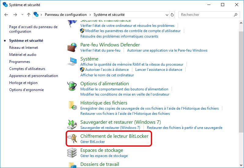 cliquer sur Chiffrement de lecteur BitLocker