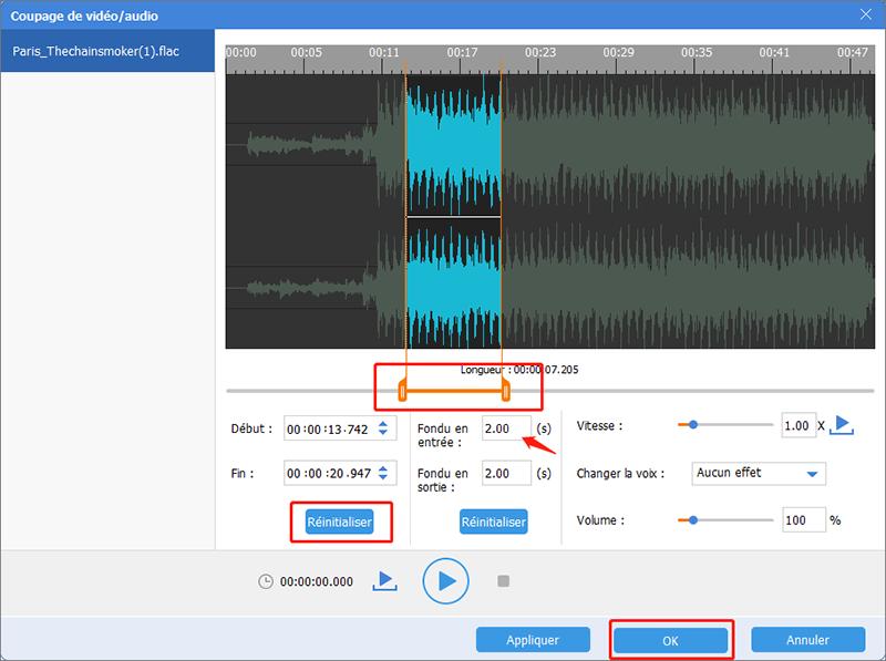 effectuer le coupage de fichier audio