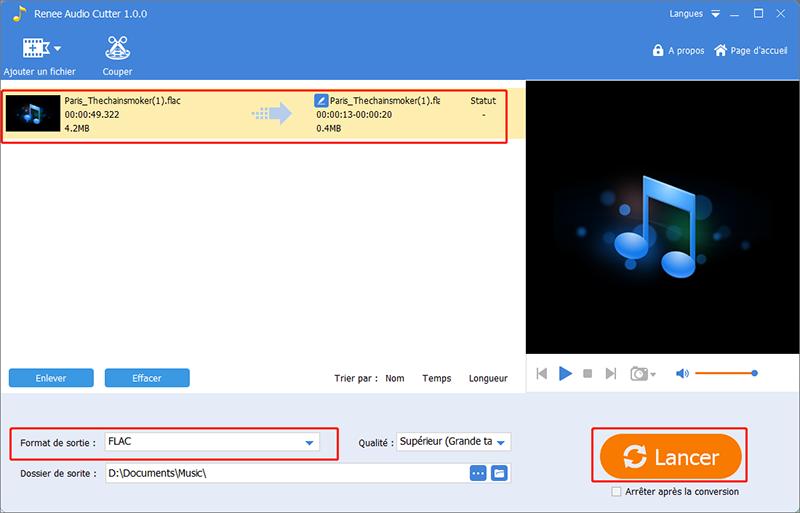 cliquer sur lancer pour terminer l'édition de fichier audio