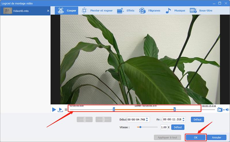 couper un clip de vidéo en définissant le début et de la fin