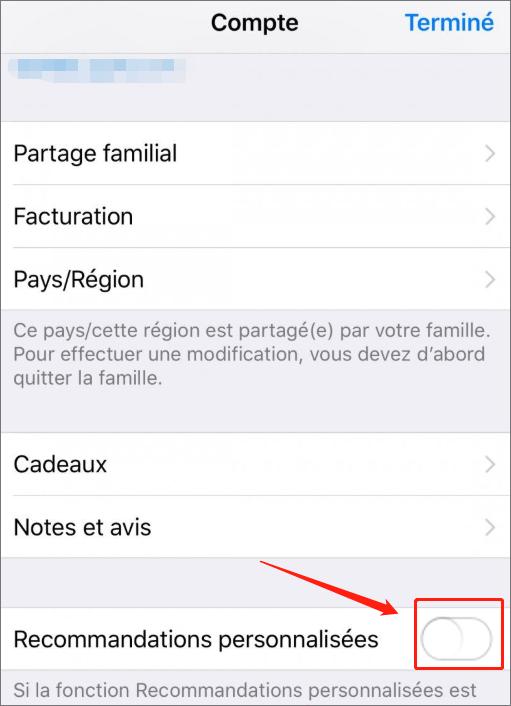 désactiver l'option recommandations personnalisées pour régler le problème de synchronisation iTunes