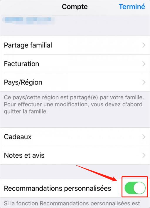 désactiver la Recommandation personnalisées sur iPhone