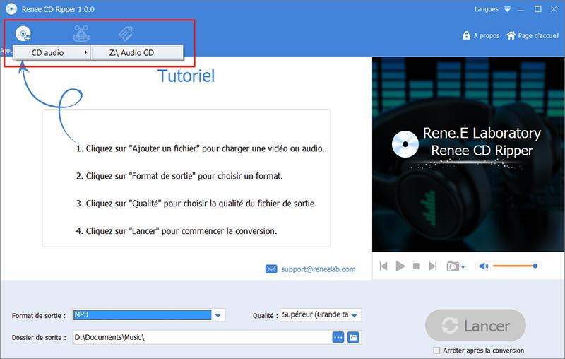 cliquer sur Audio CD pour trouver le fichier audio sur le CD