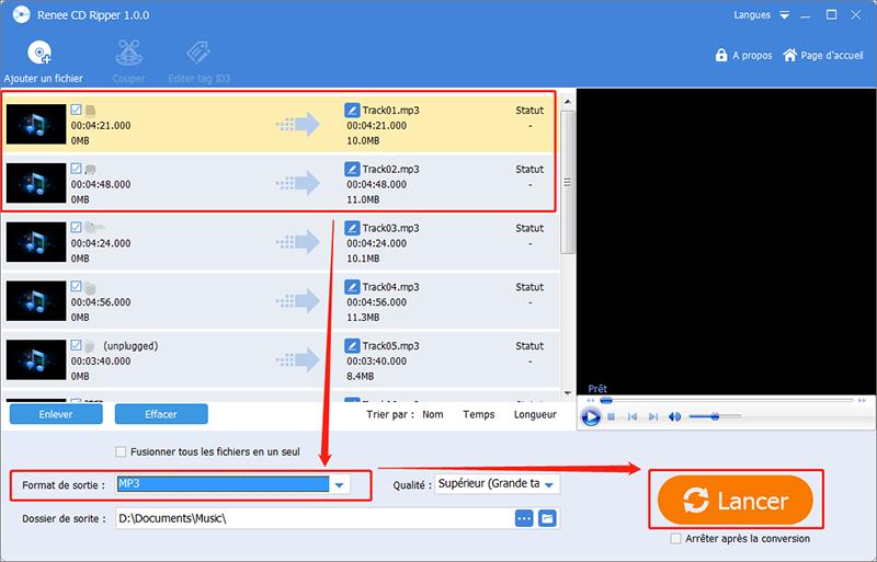 cliquer sur Lancer pour convertir CDA en MP3