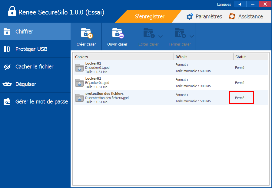 fermer le disque virtuel dans Renee SecureSilo