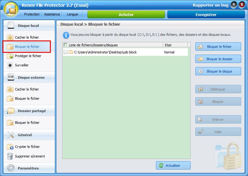 comment verrouiller un disque dur interne avec Renee File Protector