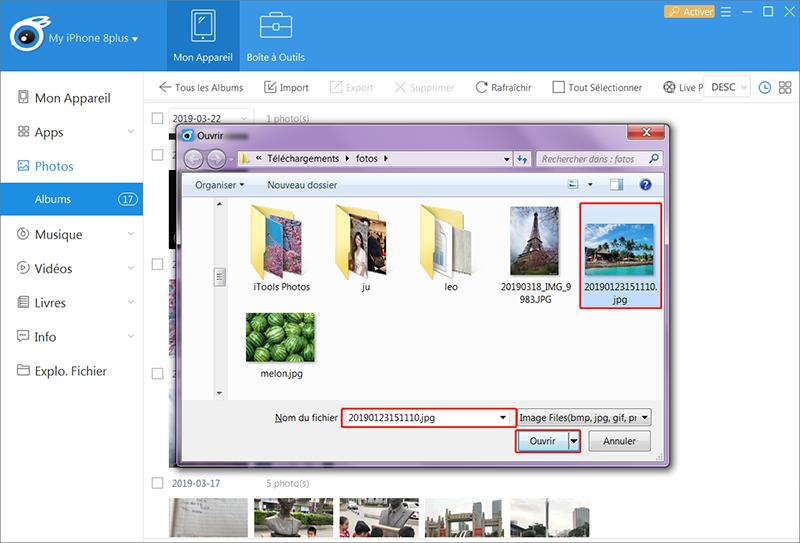 Sélectionnez le fichier à importer