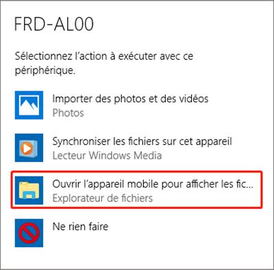 ouvrir l'appareil pour afficher les fichiers