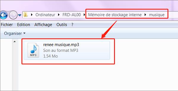 copier le fichier audio et coller sur le bureau