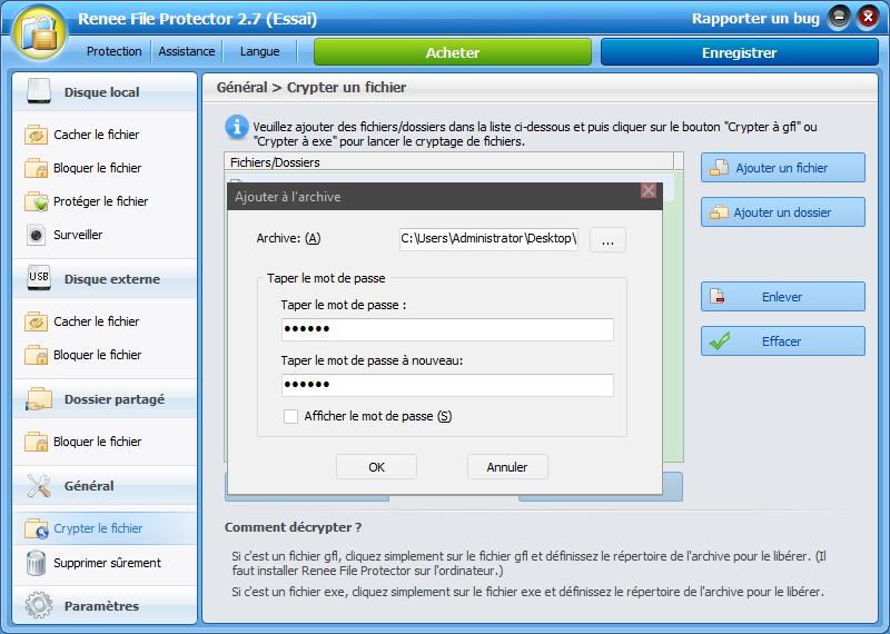 crypter un fichier zip par un mot de passe