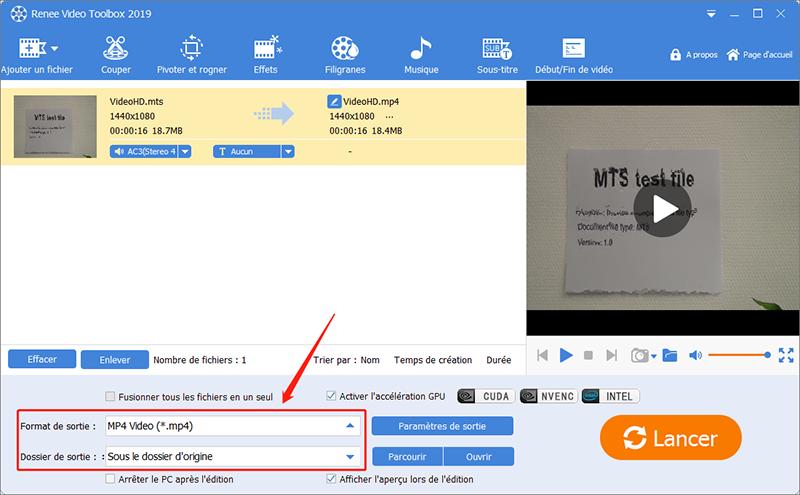 convertir fichier mts en mp4