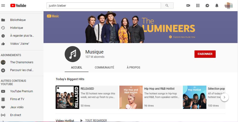 La chaîne officielle de Musique sur YouTube