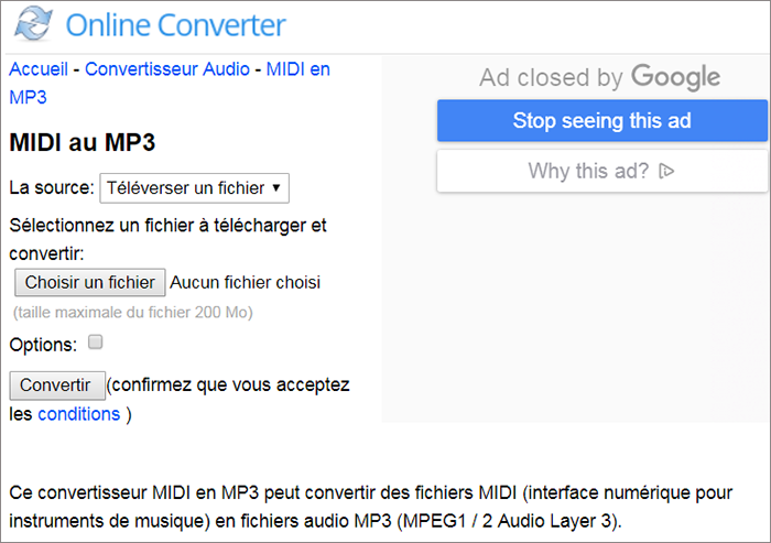 Ouvrer le site de conversion