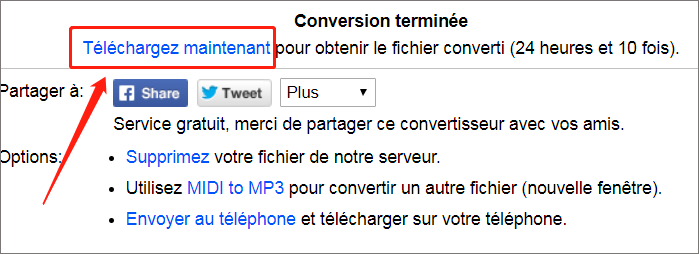Cliquez sur Télécharger pour enregistrer le fichier converti sur votre ordinateur