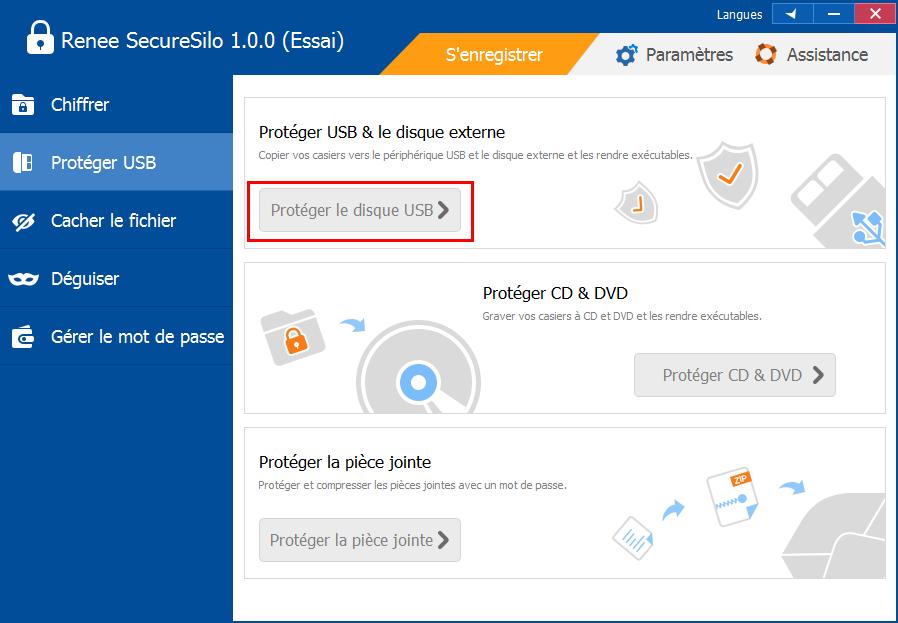 protéger le périphérique USB avec Renee SecureSilo