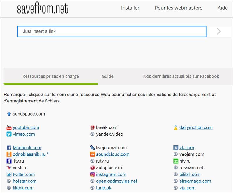 télécharger la vidéo au niveau local avec le site Savefrom.net