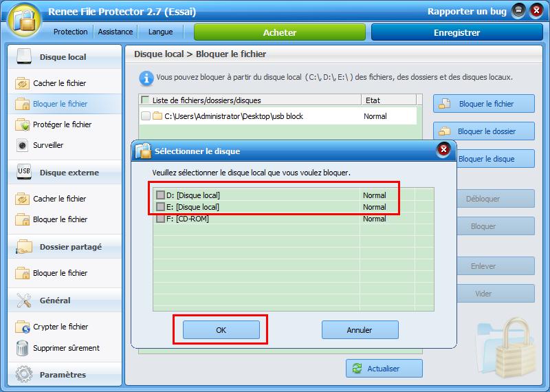bloquer le disque ou la partition cible