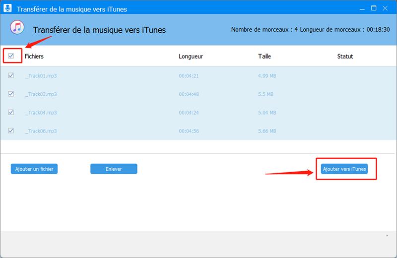 ajouter les fichiers de musique vers iTunes