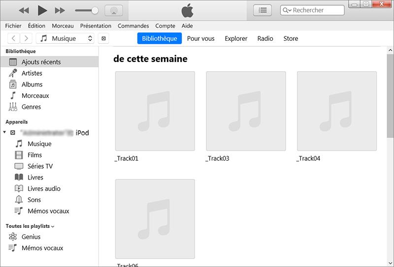 connecter le iPod au PC et ouvrir iTunes