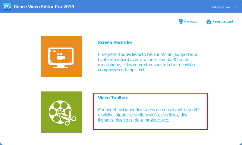 fonction de Video Toolbox de Renee Video Editor Pro