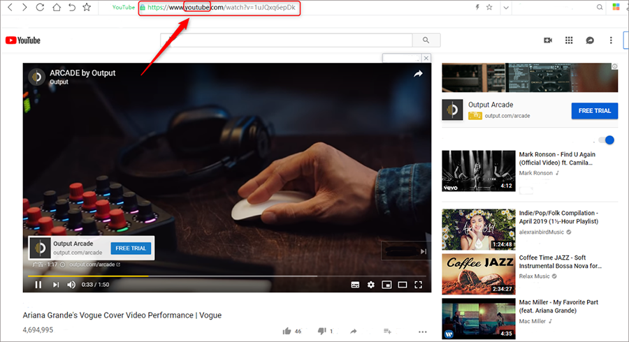 enregistrer la musique YouTube via le site Yout.com