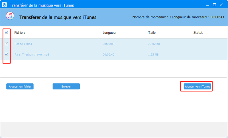 ajouter les musiques vers iTunes avec Renee Audio Toolso