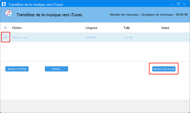 ajouter le fichier audio vers iTunes