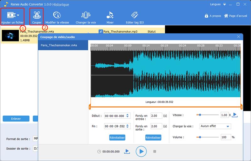convertir m4a en mp3 avec Renee audio tools
