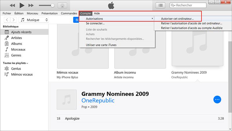 autoriser votre ordinateur sur iTunes