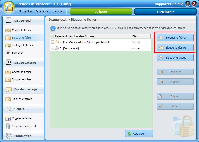 bloquer le fichier ou le dossier dans Renee File Protector