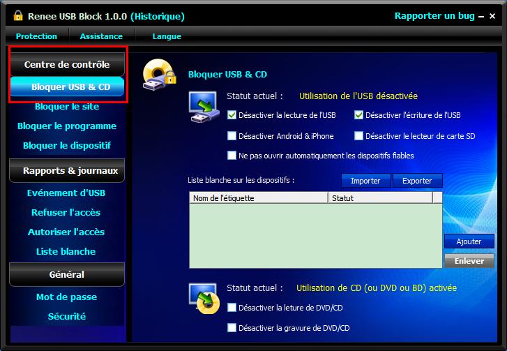 bloquer le port USB et éviter la divulgation des données personnelles